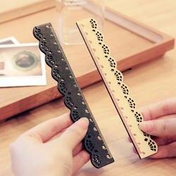 Шт. 1 шт. красивые стильные Корея ZAKKA Kawaii Канцелярские кружево коричневая деревянная линейка Вышивание линейка Офис Школьные принадлежности