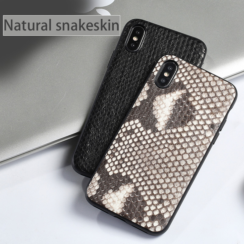 Wangcangli Genuine Leather Phone Case For iPhone X Real Python Skin back cover For iPhone SE 5 5S 6 6S 7 8 Plus phone shell