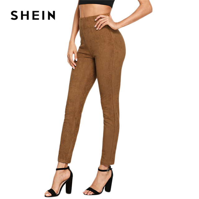 SHEIN Brown Elegant Office Lady Solid Suede Skinny Leggings 2018 Autumn Highstreet Workwear Women Pants Trousers 5