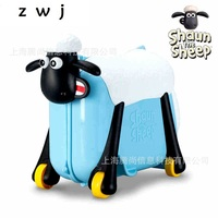 Shaun the Sheep Riding suitcase luggage bag ride children's toy cartoon carry on spinner rolling luggage