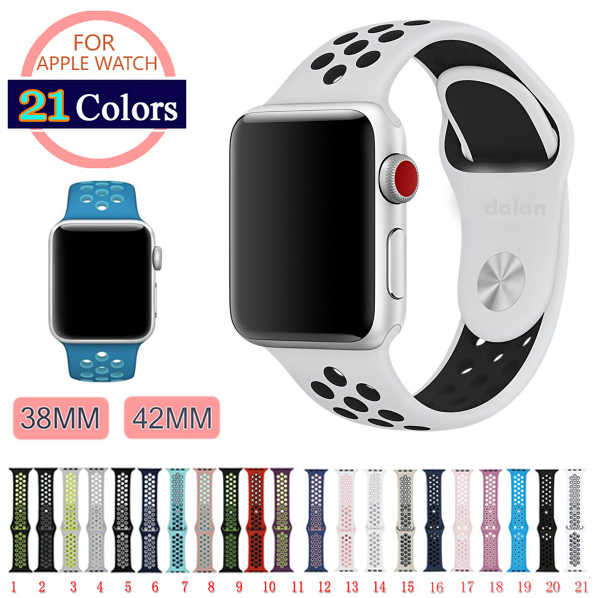 NEW Sport Silikon strap for Apple uhr band 4 40mm 44mm correa Aplle uhr 42mm 38mm armband handgelenk Armband iwatch 4/3/2/1 Nike