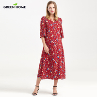 Green Home Long Pregnant Dress Evening Bohemian Floral Maternity Dresses For Women Belt Printing Nursing Dress