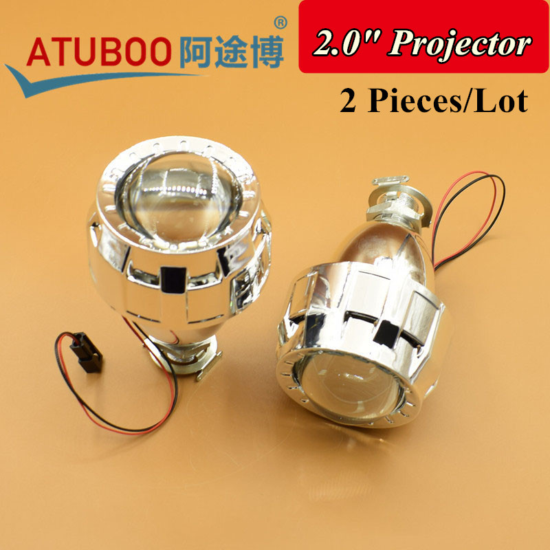 2 Pieces/Lot,2.0 HID Bi-Xenon Projector Lens with Shroud ,Using H1 Bulb Socket for H4 H7 car Headlight motorcycle Retrofit