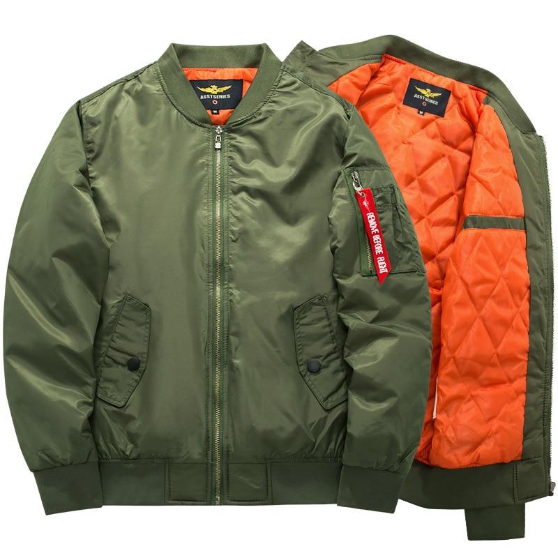 nouvelle version en gros vente la plus chaude € 23.87 40% de réduction|Grande taille 7XL 8XL hiver épaissir armée vert  militaire hommes moto Biker vol veste pilote Air Force hommes Bomber veste  ...