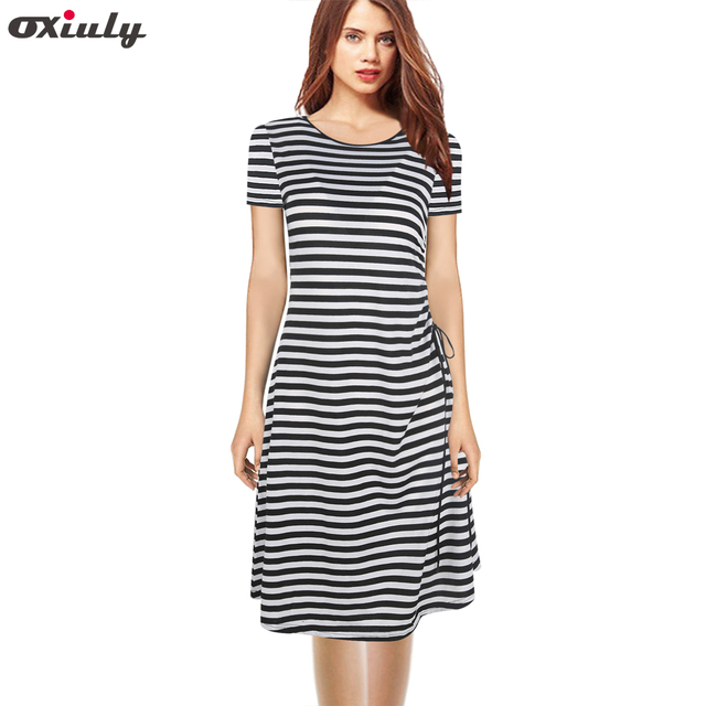 0b2776b461 Oxiuly Summer Black White Striped Dress Side Slit Bow Casual Slim Robe  Short Sleeve Street Style Women's Sexy Party Club Dresses