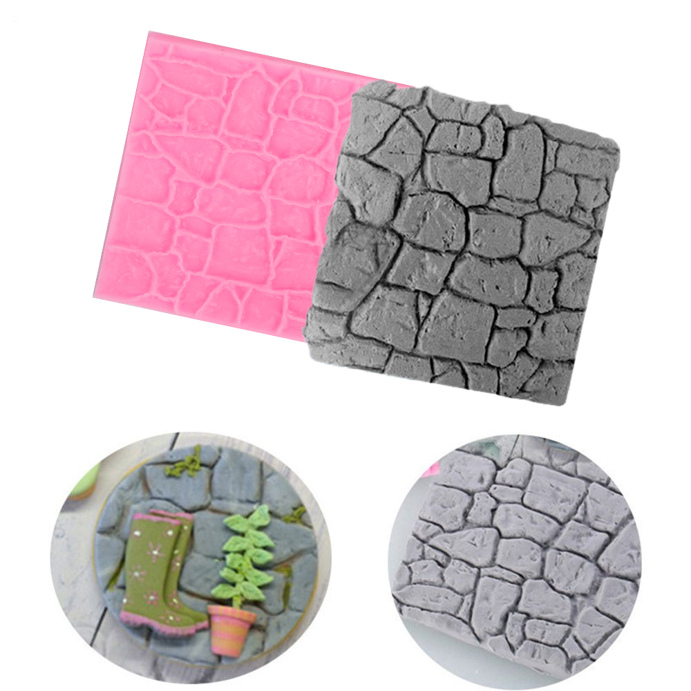 Cake Mold Rock Stone Fondant 3D Castle Farm Wall Silicone Mould Sugar Craft