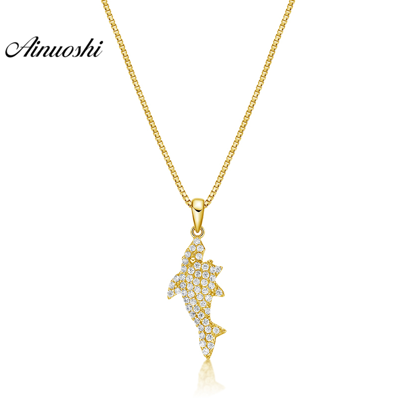 все цены на AINUOSHI 10K Solid Yellow Gold Pendant Little Ocean Fish Pendant SONA Diamond Women Men Children Gold Jewelry Separate Pendant онлайн