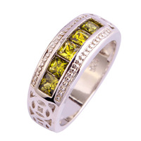 lingmei Free Shipping Peridot New Popular 925 Silver Ring Jewelry For Women Party Gift Size 6 7 8 9 10 Couples Rings Wholesale