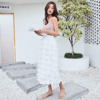 2018 spring summer new tassel star long skirt solid color chiffon fashion women skirt all match stitching slim skirt female