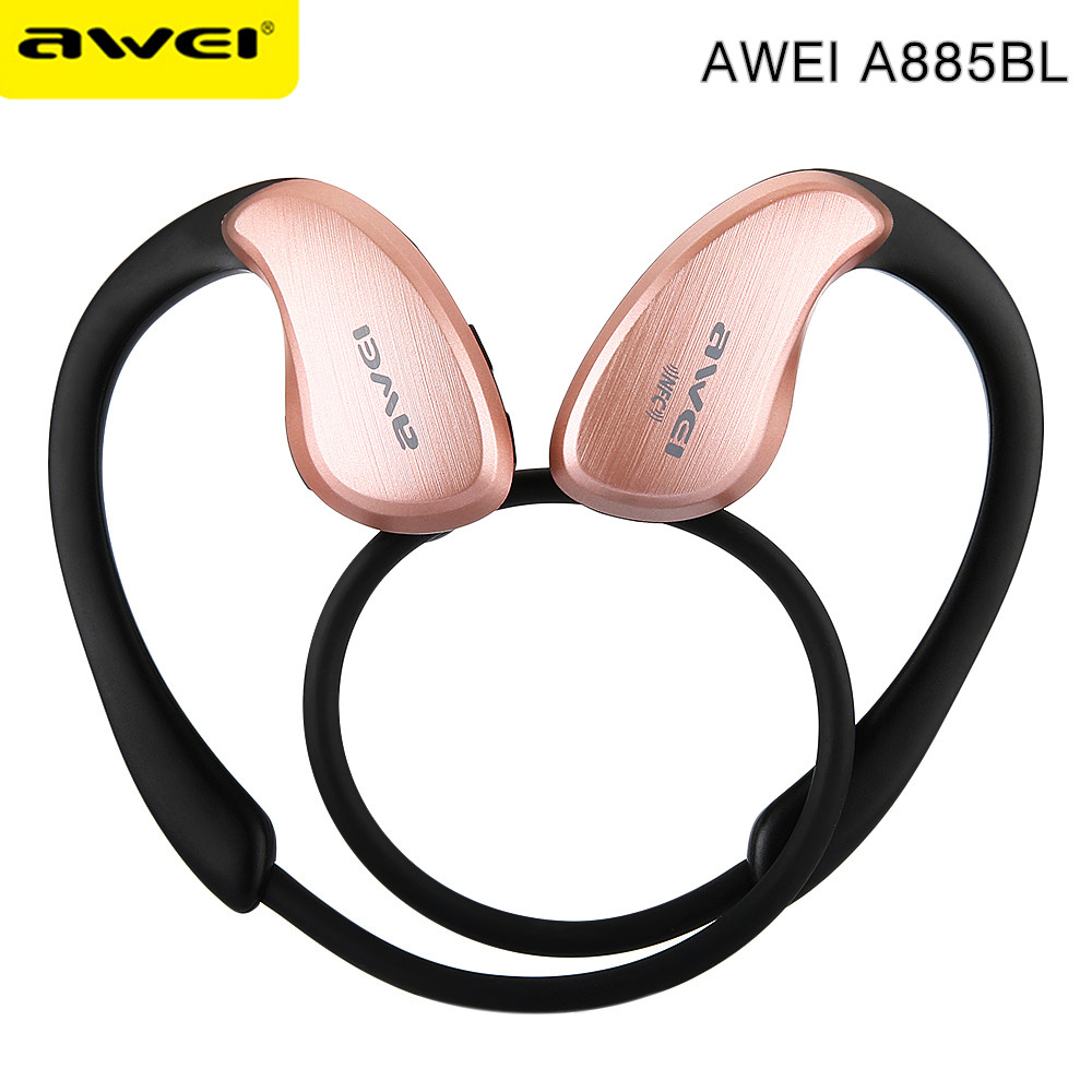 AWEI A885BL Bluetooth Earphones Wireless Headphones With Microphone NFC APT-X For IPhone 6 7 Sport Headset For Samsung Phones puseky 2017 infant romper baby boys girls jumpsuit newborn bebe clothing hooded toddler baby clothes cute panda romper costumes