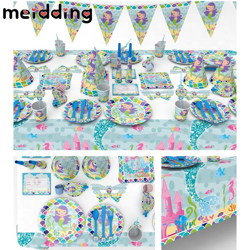 MEIDDING Mermaid Party Decoration Paper Plates Cups Napkins Invitation Cards Tablecloth Baby Shower Birthday Party Supplies