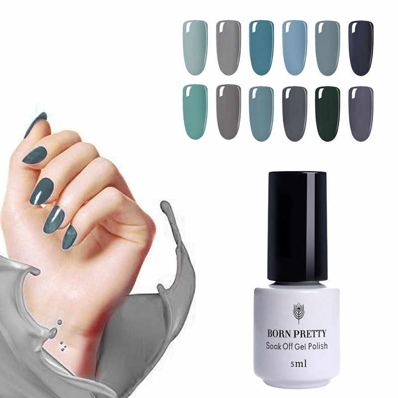BORN PRETTY 5ml  Gray Nail UV Gel Polish Matte Base Top Coat Soak Off  Series Jelly Gel Polish Nail Art Gel Polish