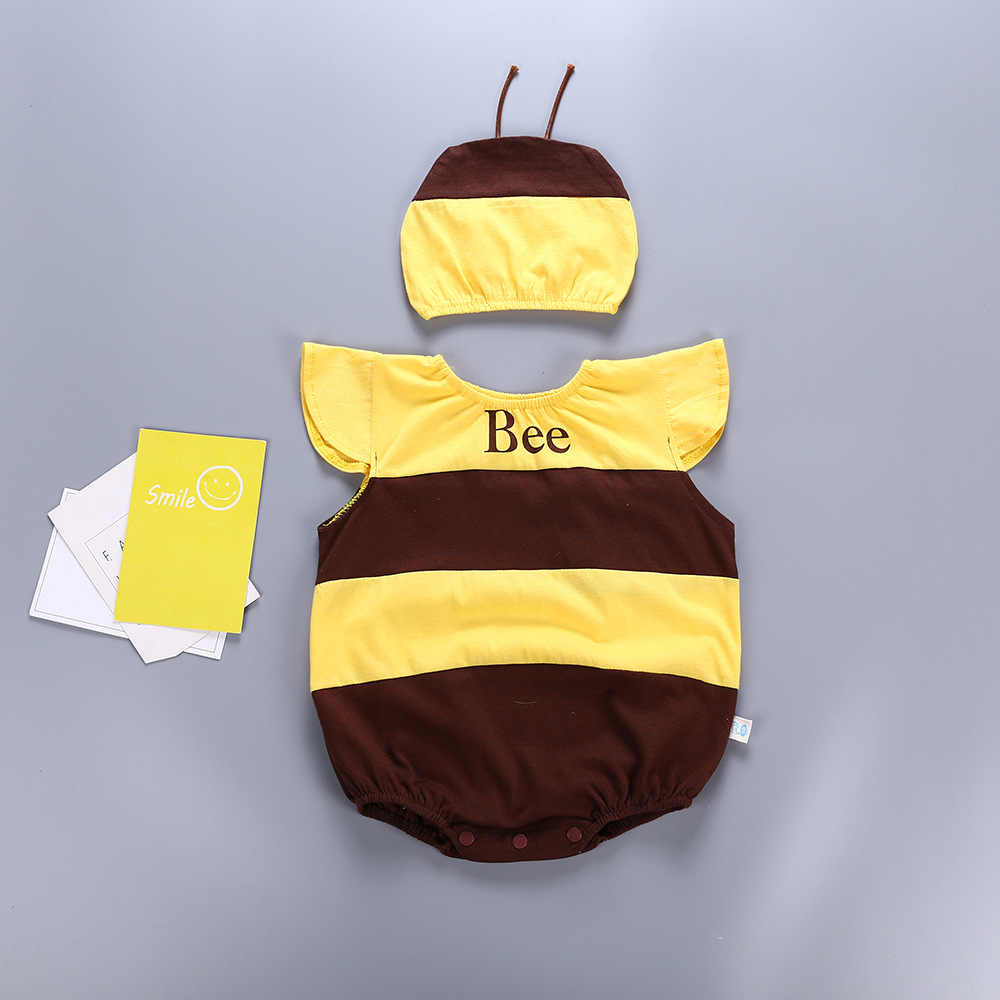 Little Bee yellow color baby design rompers cotton summer soft baby clothing  lovely fruit strawberry pink 611c80216fd0