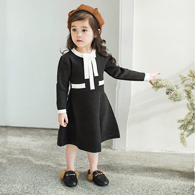 Autumn Spring white black bow jacquard dobby baby girls knitwear dress kids vintage dress Children brand clothes 2 to 7 yrs