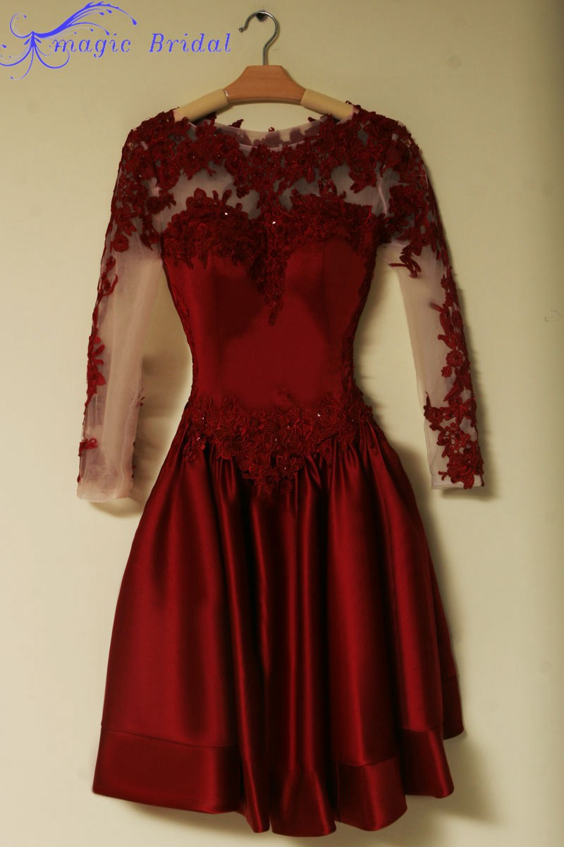 Vintage Black Burgundy Prom Dress 2015 Short Dresses