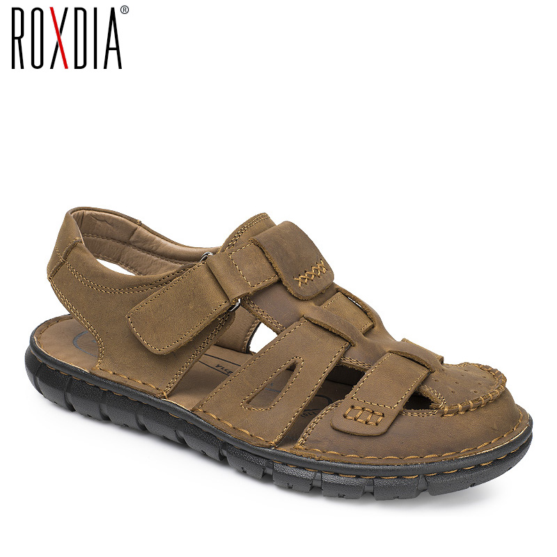 ROXDIA mens gladiator sandal genuine leather summer men sandals new fashion breathable male beach shoes 39-44 RXM044