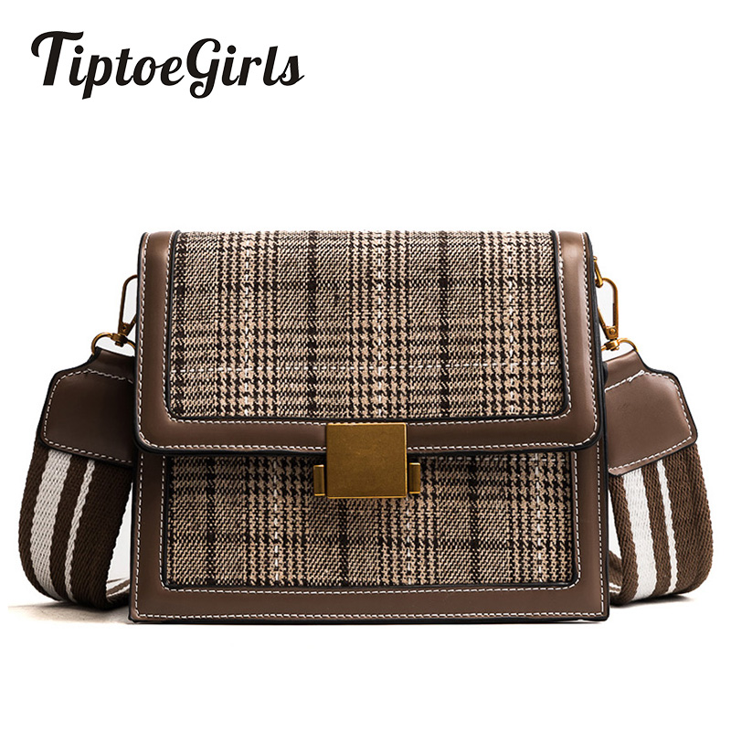 Woolen Plaid Retro Bag Female New Wave of Korean Version of the Youth Wild Messenger Shoulder Retro Small Square Package Tide цена 2017