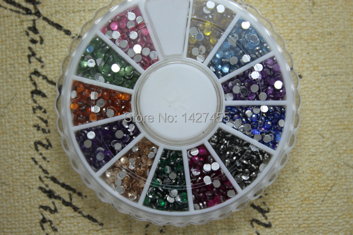 1200pcs/2mm 12 colour Supreme Quality Rhinestone Wheel with Assorted Color flat back crystal
