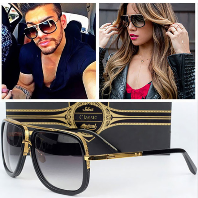 4c2be17482e01d Mannen Vrouwen Paar Platte Top Luxe Merk Designer Lady UV400 Spiegel  Zonnebril Mannelijke Hoge Kwaliteit Punt