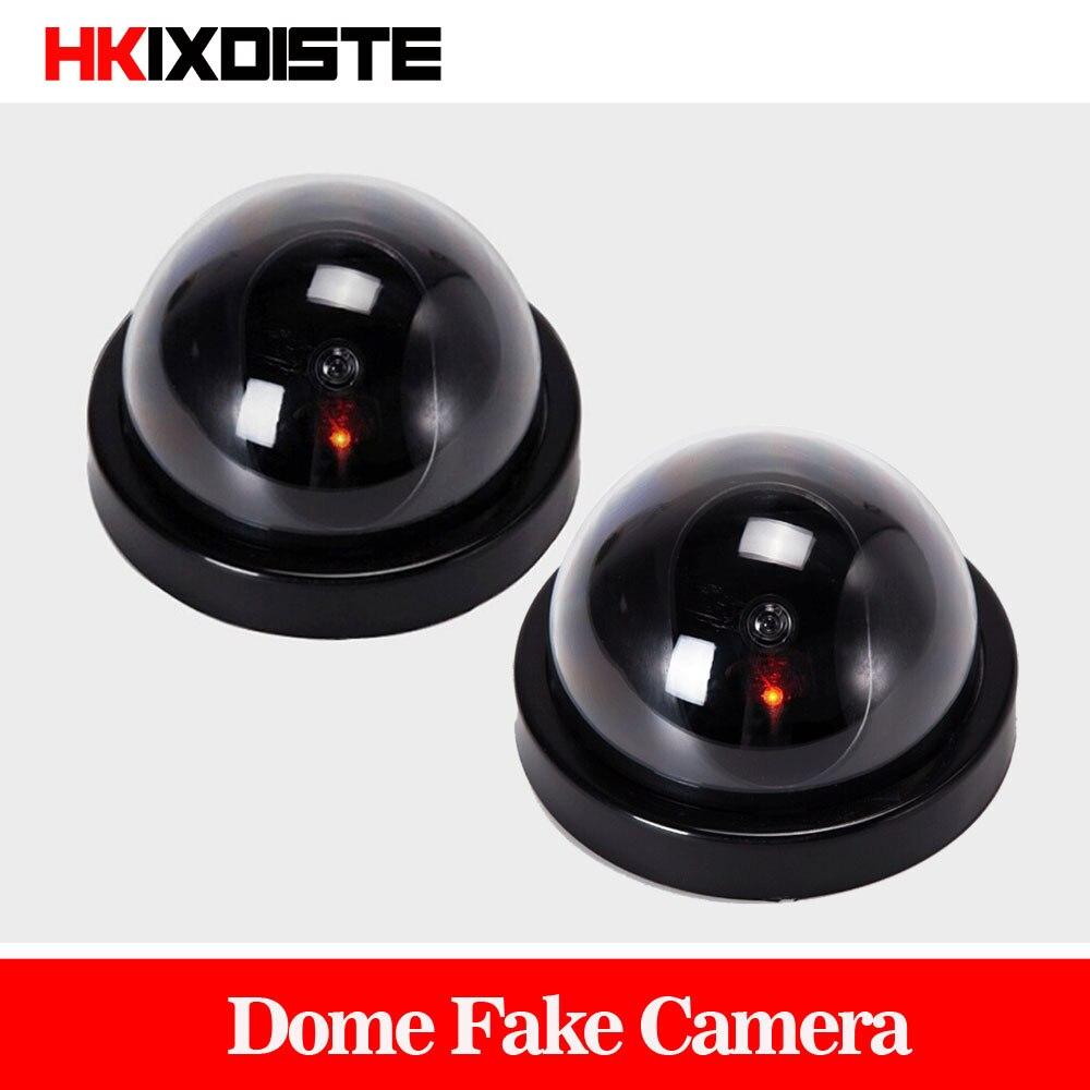 Pacote de valor 2 pces câmera de cctv manequim flash piscando led falso câmera de segurança simulado vídeo vigilância falsas camaras de seguridad