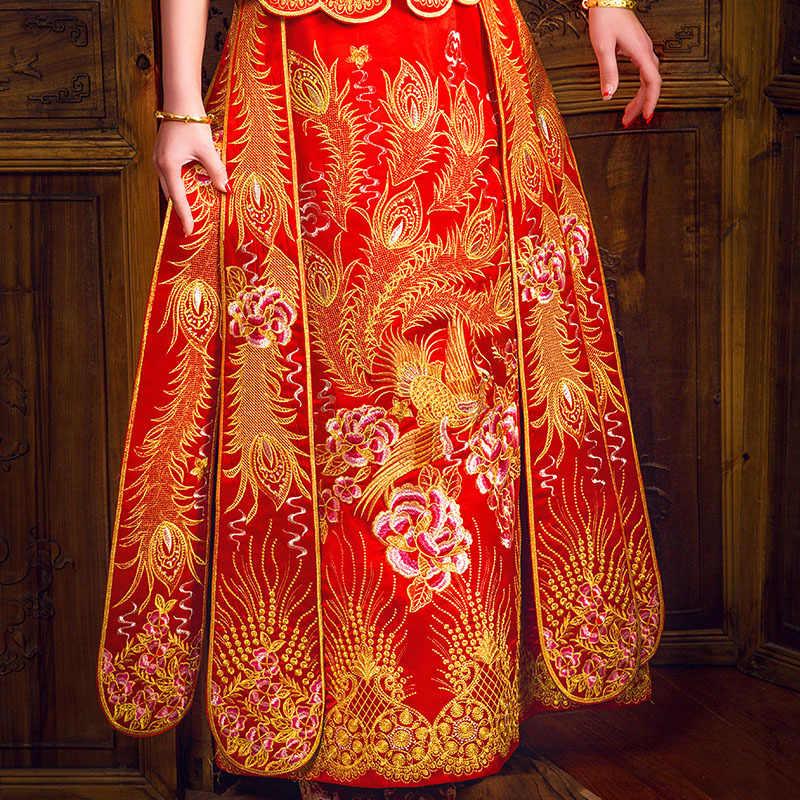 Vintage Çin tarzı resmi elbise kraliyet phoenix düğün cheongsam kostüm kırmızı gelin geleneksel Tang takım Nakış Qipao Yeni
