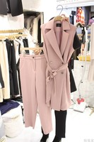 Elegant Pink Office New Women's Suit Sleeveless Jacket Jacket & Pants Suit Lady Two Piece Slim Fit Business Set