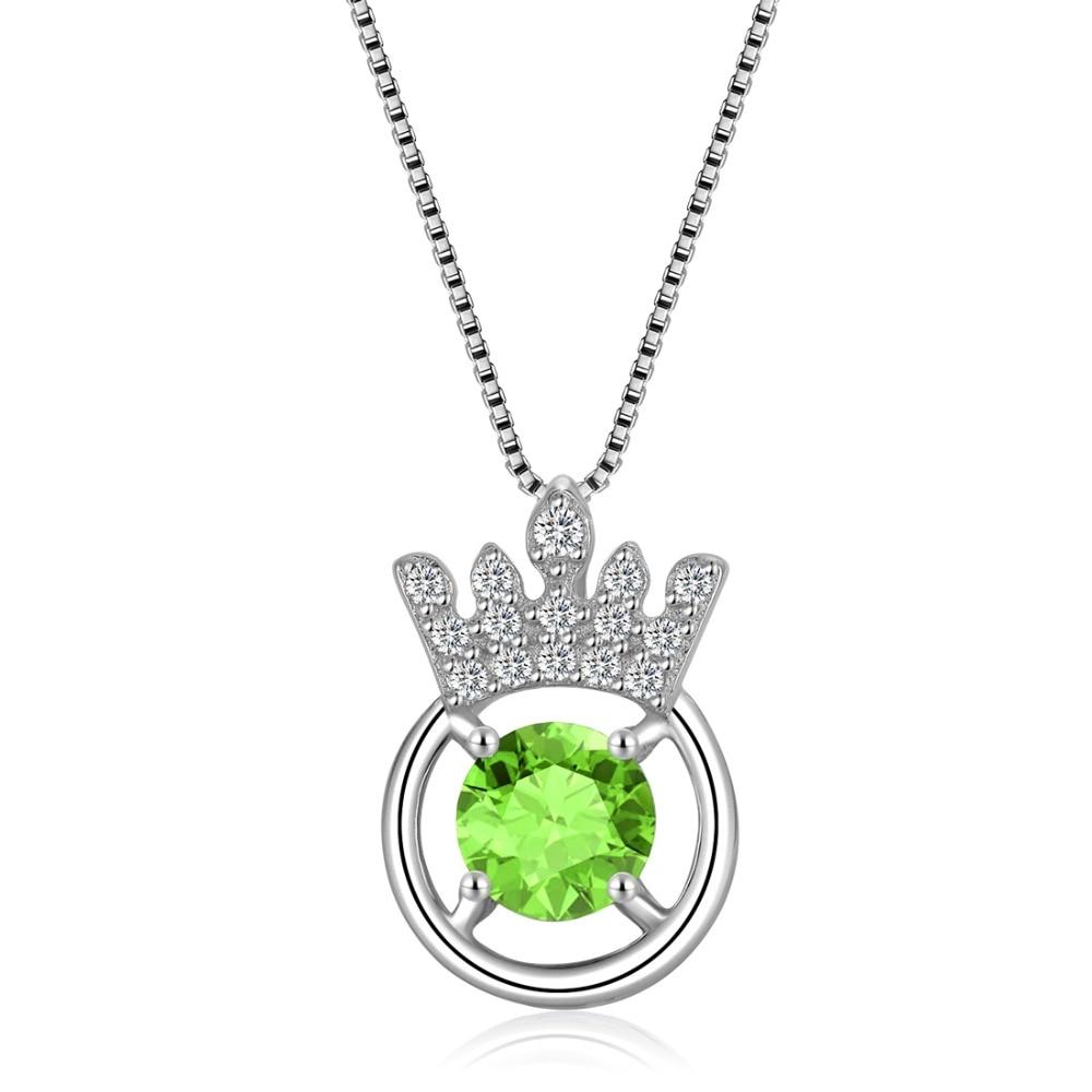 Péridot naturel 925 collier pendentif couronne impériale en argent Sterling pour les filles bijoux de pierre de naissance