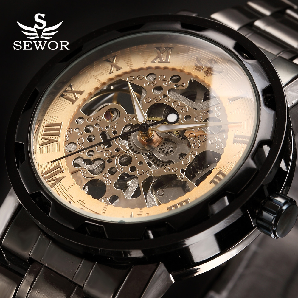 SEWOR winner Luxury Brand Skeleton Mechanical Watch Golden Transparent Steampunk Clock Men Stainless Full Steel Watch Relogio sewor c1257