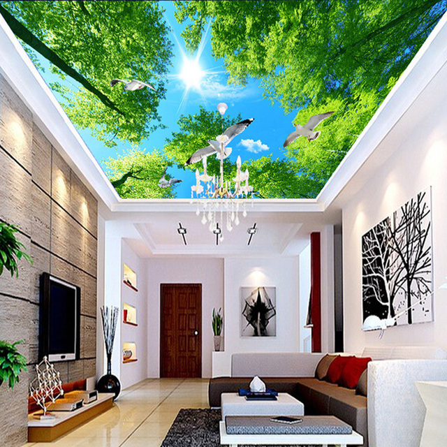 Alat Rumah Tangga Green Tree Sunshine Dove Photo Wallpaper Langit Lukisan Dinding Ruang Tamu