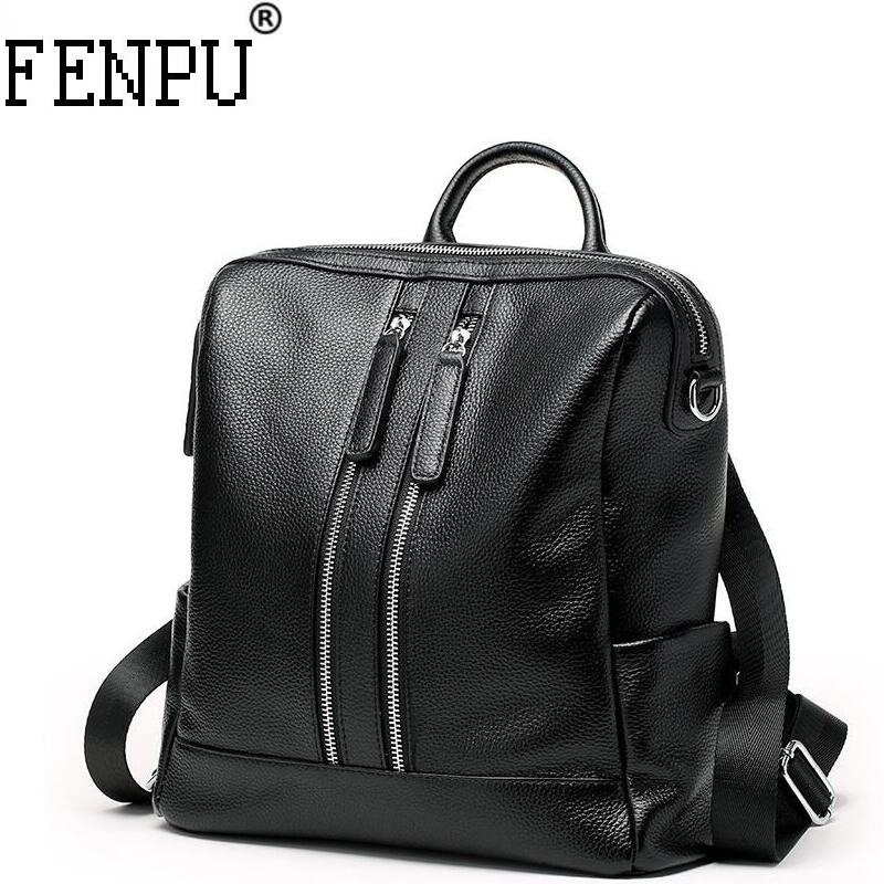 Famous Brand Backpack Genuine Leather Women Backpacks Solid Vintage Girls School Bags for Girls BlacK Leather Female Backpack joyir genuine leather women backpack vintage school bags for teenagers girls female backpacks women travel bags 2018 brand 8664