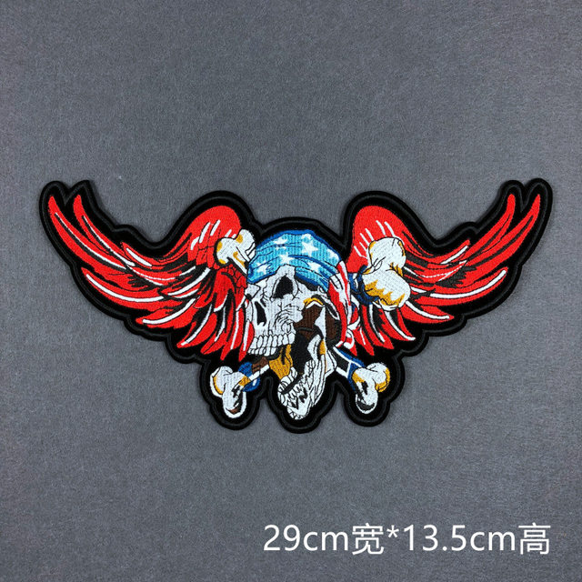 Wing Skull Badge Emblem Badge Patch Back Iron on Clothing Patches Jacket  Coat Jeans Diy Patch Stickers 9 13.5cm 22a90ea397ad