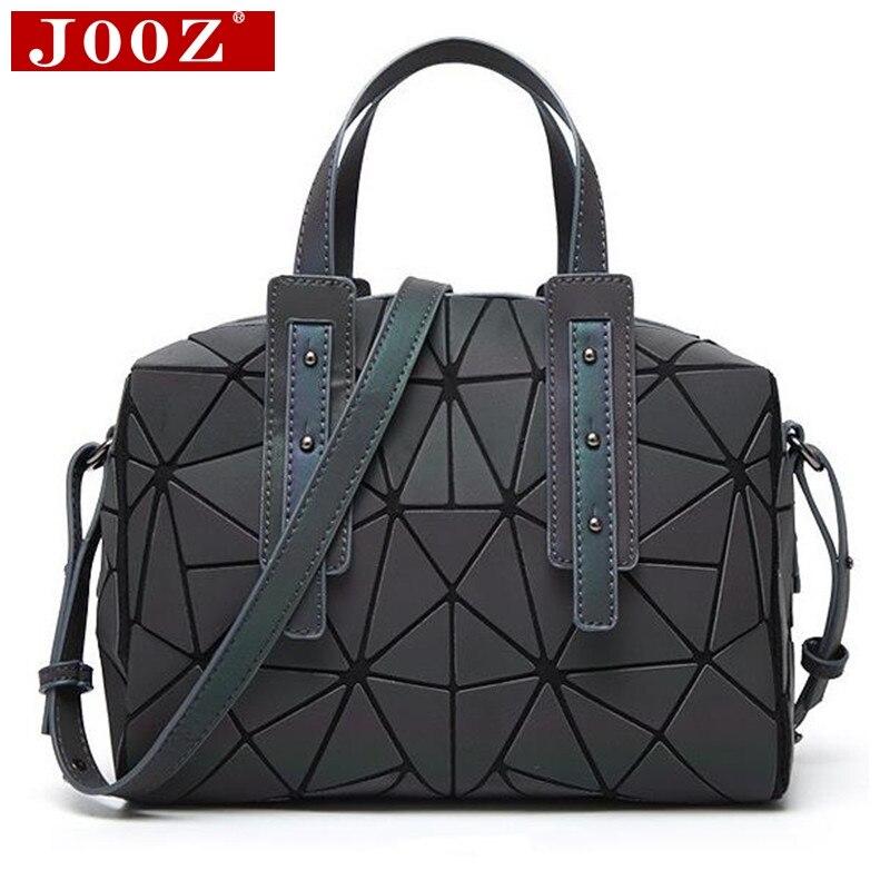 JOOZ Triangular block Stitching Luminous women handbag new famous brand Boston bag Hologram Lattice female shoulder bag jooz brand women 100