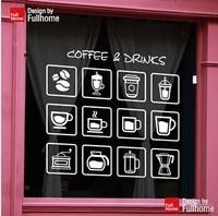 Coffee Shop Vinyl Decal Coffee Drinks Sign Logo Glass Door Decor Window Sticker Coffee Bean Coffee Cup Tea Machine Mural Sticker