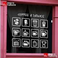 Coffee Shop Vinyl Decal Coffee Drinks Sign Logo Glass Door Decor Window Sticker Coffee Bean Coffee