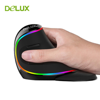 Original Delux M618 Plus Computer RGB Vertical Mouse Ergonomic USB 4000 DPI Optical Mause Wireless Mice for PC Desktop Laptop