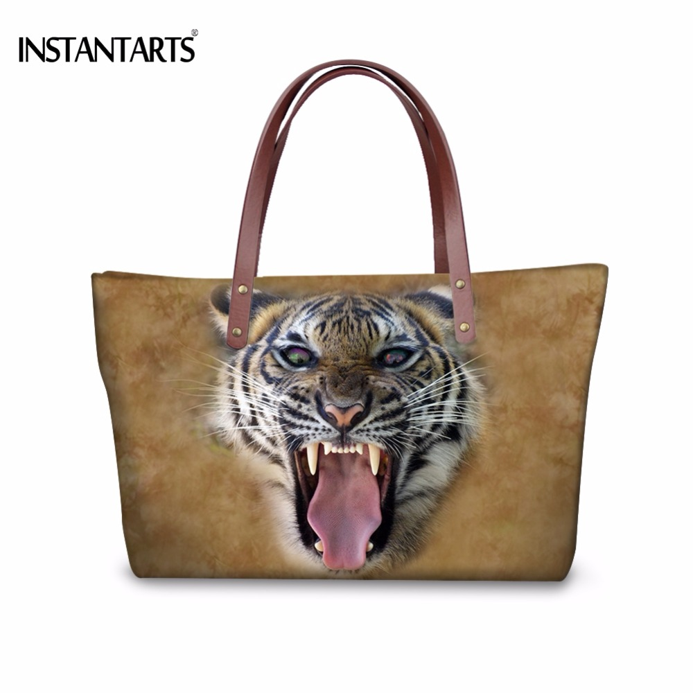 INSTANTARTS Cool 3D Animal Screaming Tiger Print Women Shoulder Bags Stylish Brand Female Shopping Handbags Large Beach Tote Bag