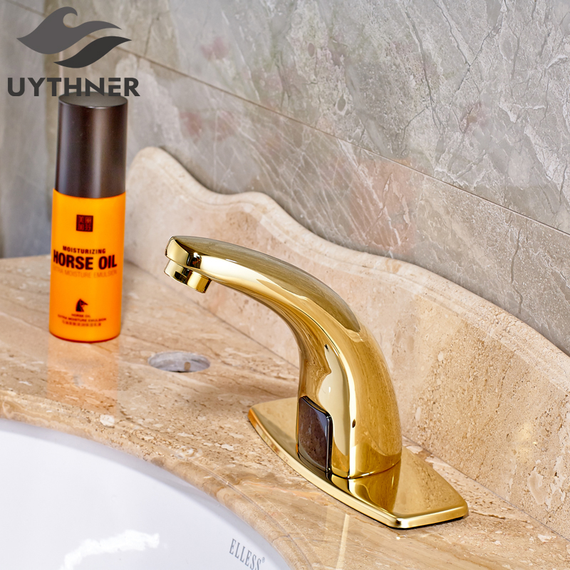 Newly US Free Shipping Wholesale And Retail Deck Mount Luxury Golden Finish Single Handle Bathroom Sink Basin Faucet Mixer Tap us free shipping wholesale and retail modern chrome finish bathrom waterfall sink basin faucet mixer tap dual holes wall mount