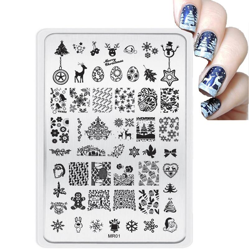 Estilo grande Decoraciones de Navidad Placas de Estampado de Uñas - Arte de uñas