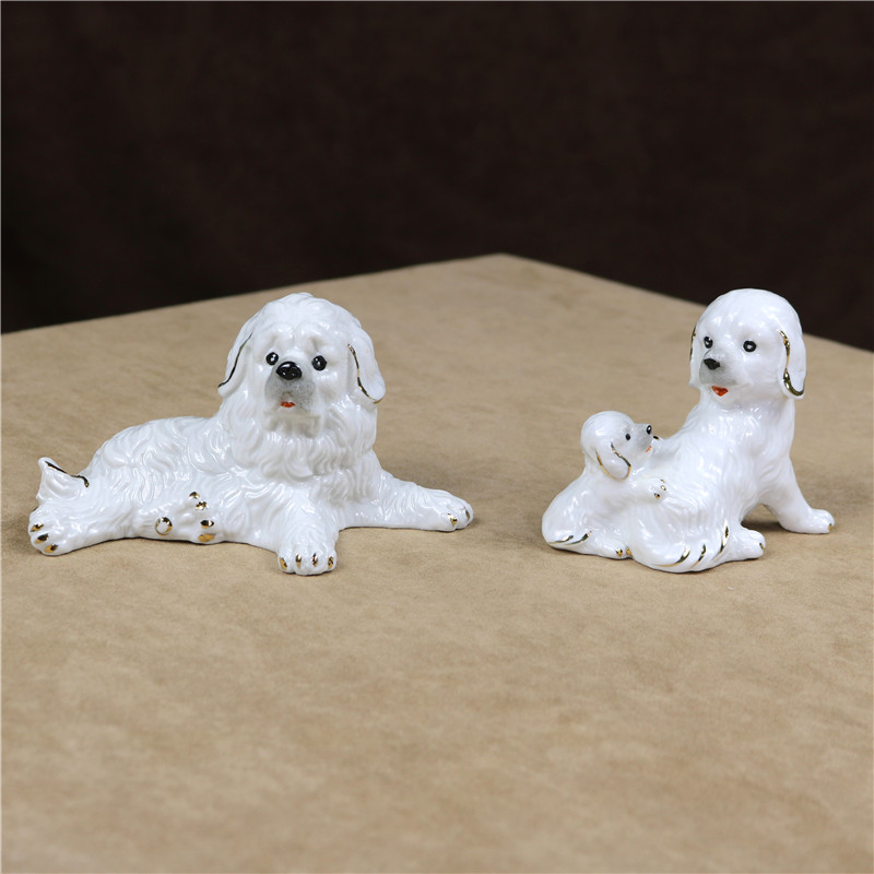 MALTESE puppy TiNY Dog FIGURINE Resin HAND PAINTED MINIATURE Mini Small Statue