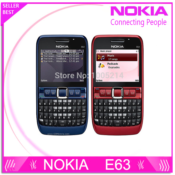 Original del teléfono nokia e63 e63 teclado qwerty del teléfono móvil bluetooth