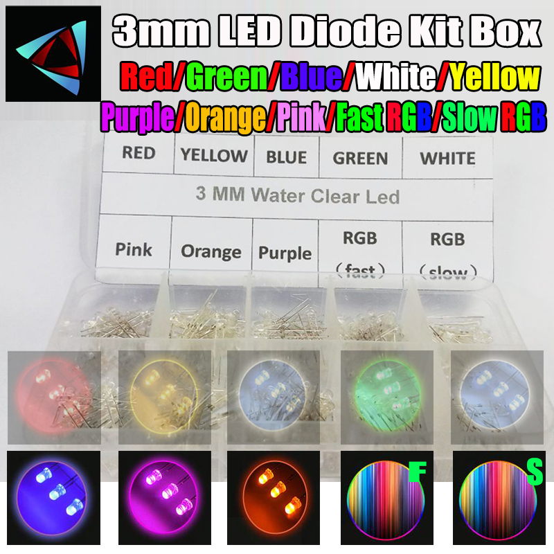 Careful 50pcs 5mm 4.8mm Straw Hat Clear Warm White Green Red Blue Purple Yellow Orange Pink Rgb Diy Light Emitting Diode Set Diodes