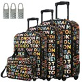 "DAVIDJONES Lightweight Vintage Print 4 Piece Luggage Set 20"" 24"" 28"" & cosmetic case WomenTravel Bags Suitcase With fixed Wheel"