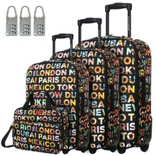 """DAVIDJONES Lightweight Vintage Print 4 Piece Luggage Set 20"""" 24"""" 28"""" & cosmetic case WomenTravel Bags Suitcase With fixed Wheel"""