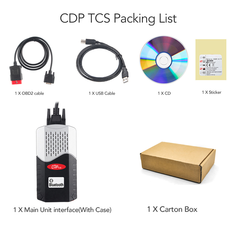 CDP TCS multidiag pro Bluetooth 2016.R0 keygen V3.0 NEC relays obd2 scanner cars trucks OBDII diagnostic tool with car cables