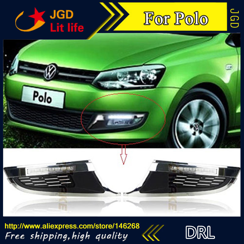 Free shipping ! 12V 6000k LED DRL Daytime running light for VW Polo 2011 2012 fog lamp frame Fog light Car styling