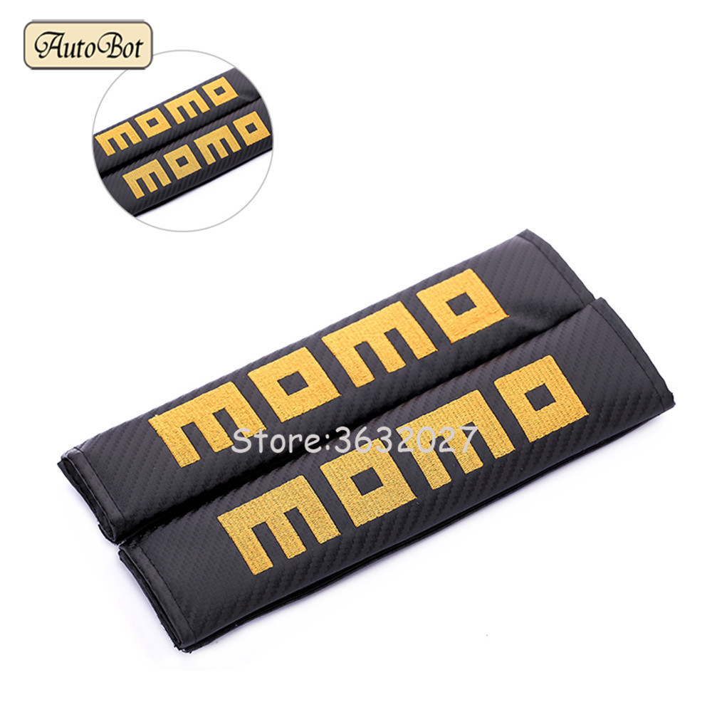Safety Strap Pad Car Seat Belts Pillow Shoulder Protection MOMO For Audi A3 A6 C6 Lada Granta Seat Leon Mitsubishi Asx Vw Golf 4