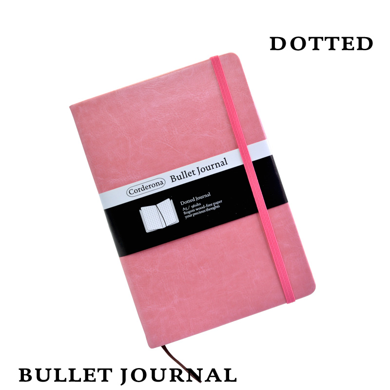 Dot Grid Hard Cover Candy Color A5 PU Notebook Elastic Band Travel Puntos Dotted Bullet Journal Bujo Pointed Writing Pads hard cover small notebook diary book pocket candy color elastic band ruled journal