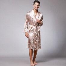 Plus Size Men s Satin Robe Dragon Luxurious Silk Spa Long Sleeve House  Kimono Bathrobe(China 50b656b18