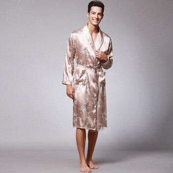 Plus Size Mens Satin Robe Dragon Luxurious Silk Spa Long Sleeve House Kimono Bathrobe цена 2017