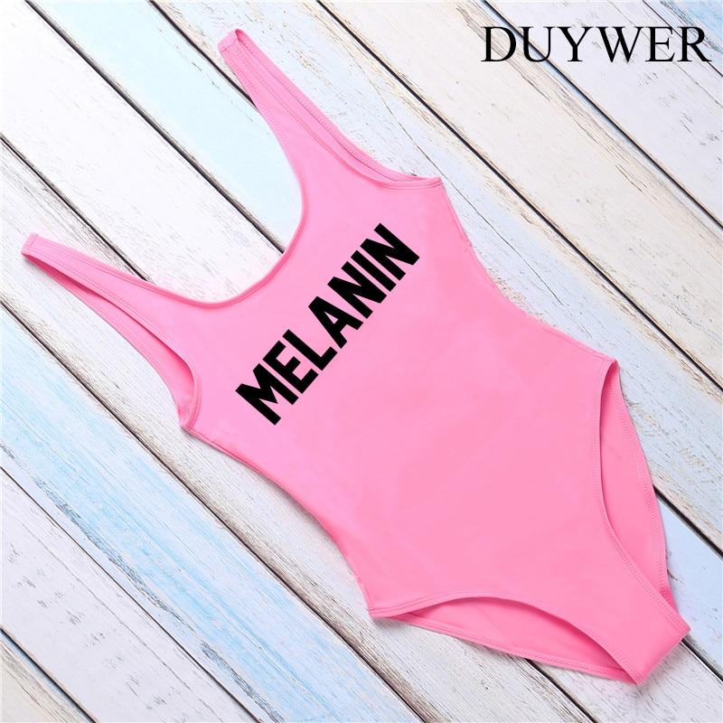3f6e289b760fc Aliexpress.com : Buy One Piece Swimsuit MELANIN Letter Printing Swimwear  Women High Cut Low Back Bathing Suit Pink Monokini Bodysuit Beachwear Girls  from ...